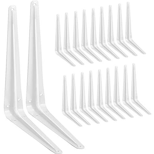 20 Pack Shelf Brackets 12 Inches White, Heavy Duty Steel Metal L Brackets for Shelves, J Brackets Wall Angel Corner Brace for Wood Board