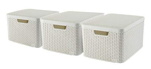 CURVER Lot de 3 Boîtes avec Couvercle - 3 Caisses (3*30L) en Plastique avec un Design Rotin Tressé pour Salle de Bain, Chambre, Bureau - Poignées Ergonomiques - Blanc