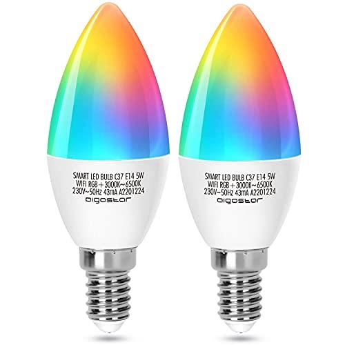 Aigostar Lampadina Smart WiFi E14 Lampadina a Candela 5W Funziona con Alexa e Google Home, RGB Multicolore Dimmerabile e 3000k - 6500k, Nessun Hub Richiesto, 2.4Ghz, 2 Pcs
