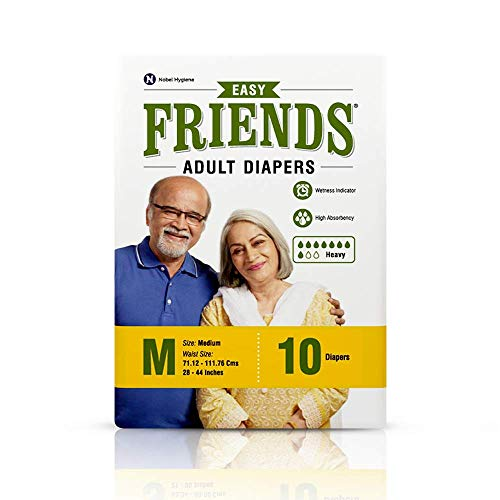 "FRIENDS Easy Unisex Adult Diapers Medium Waist Size (28""- 44"" Inch) 10 Pcs"