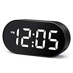 Plumeet LED Alarm Clocks Digital Clock with Dimmer and Snooze - 2 Level Alarm Volume Optional - Large White Digit Display Bedside Clocks with USB Port Phone Charger - Simple Operation (White)