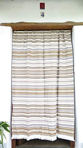 Cortina Alpujarreña Rustica,(160 x 215 cm), Variedad marrón Color 920 Hecha en España, Fibra Natural de algodón - Cortina para Puerta Exterior mosquitera y Parasol