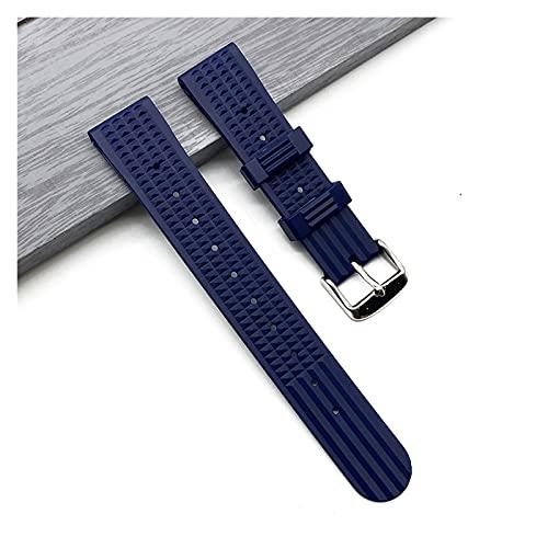 MINGYUYUYY Correa de Goma de Silicona 20 mm 22 mm Relojes Waffle Apta para Seiko SRP777J1 Ver la Correa de Buceo Pulsera Impermeable reemplazo para Hombres (Band Color : Blue, Band Width : 20mm)