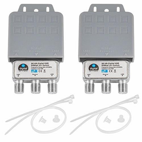 2X DiseqC Schalter SE Switch 2/1 mit Wetterschutzgehäuse HB-DIGITAL 2X SAT LNB 1 x Teilnehmer / Receiver für Full HDTV 3D 4K UHD