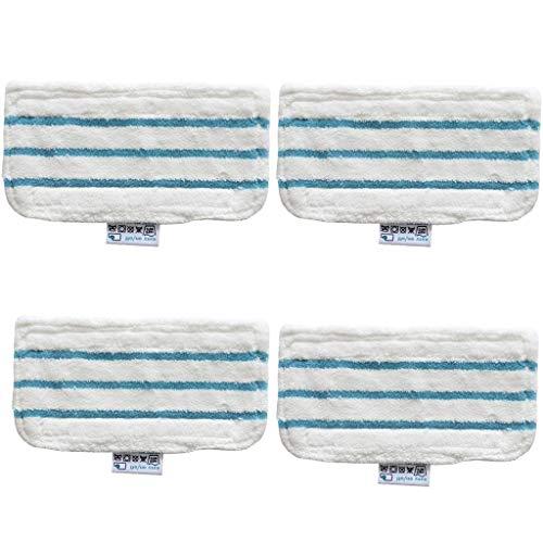 Hunpta@ Serie Steam Mop - Almohadillas de Recambio para mopa (4 Unidades, para Todas Las escobas de Vapor, se Puede Lavar a máquina, se Puede retirar fácilmente con el pie), Blanco