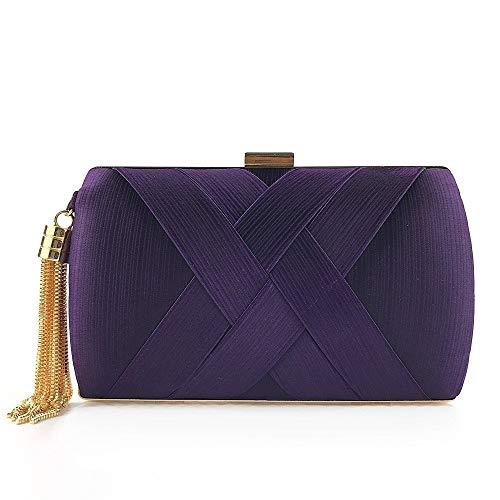 TEYUN Take moda borsa da sera in raso frange Wallet Lady (colore : Viola)