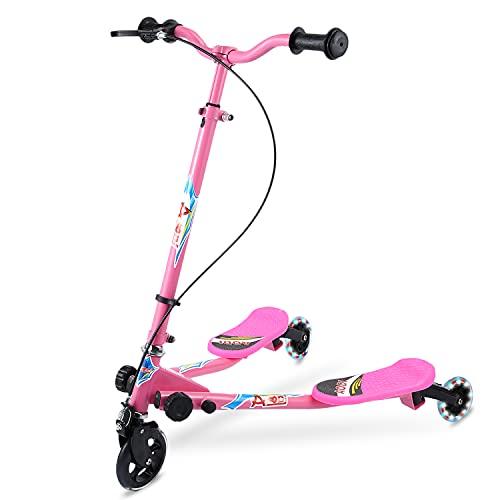 AOODIL Y Fliker Scooter para niños, 3 Ruedas Swing Scooters Plegable Tri Slider Plegable Push Drifting con Mango Ajustable y 2 Ruedas LED traseras para niños y niñas de 3 a 10 años