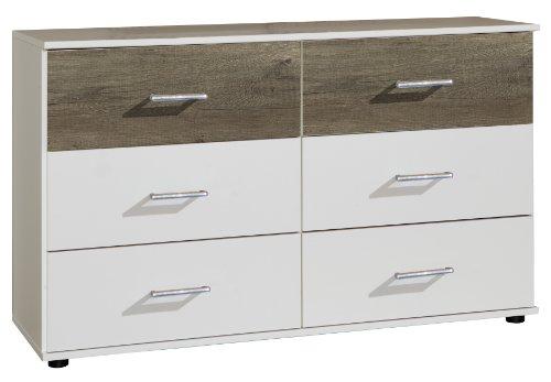Wimex 773705 Kommode Menorca, sechs extragroße Schubkästen für viel Stauraum, 130 x 82 x 42 cm, alpinweiß / obere Schubkästen Wildeiche Nachbildung