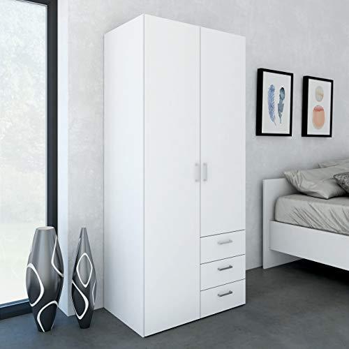 Dmora Armadio Guardaroba a Due Ante battenti e Tre cassetti, Colore Bianco, cm 77 x 175 x 49