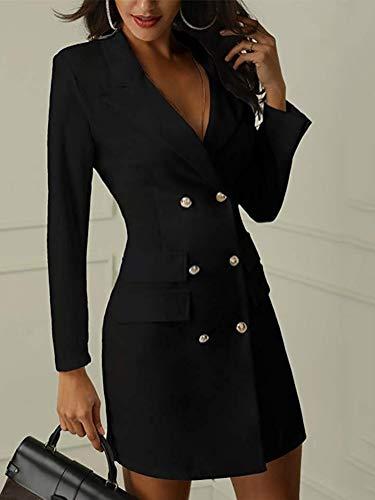 Mujer Blazer Manga Larga Chaqueta del Traje Mini Vestido Oficina Negocios Parte OL Cuello en V Botón Chaqueta Abrigo Negro ES 36