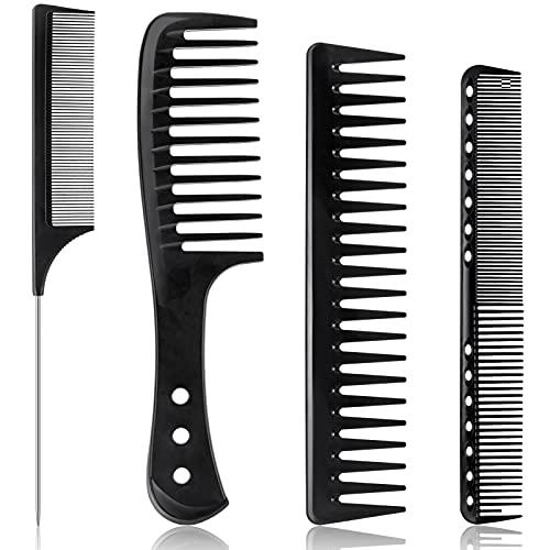 Juego de 4 peines para el cabello, fibra de carbono, peine de dientes anchos, resistente al calor, peine de peluquero, peine para desenredar, peine antiestático para hombres y mujeres