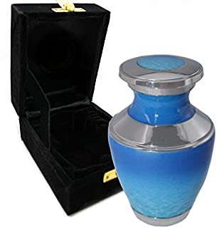 Ocean Tranquility Cremation Urns for Adult Ashes for Funeral, Burial, Niche or Columbarium, 100% Brass, Cremation Urns for Human Ashes Adult 200 Cubic inches (Ocean Tranquility, Small/Keepsake)