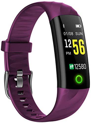 Fitness Smart Watch Hombres Mujeres Monitor de ritmo cardíaco Presión arterial Podómetro Reloj Inteligente con Lámpara Para Correr Noche Púrpura