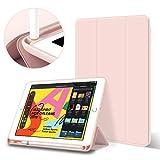 ZOYU Funda para iPad 2018/2017 con soporte para lápices, ligera y suave TPU con soporte triple con función de reposo/encendido automático, para iPad de 6ª y 5ª generación de 9,7 pulgadas, color rosa