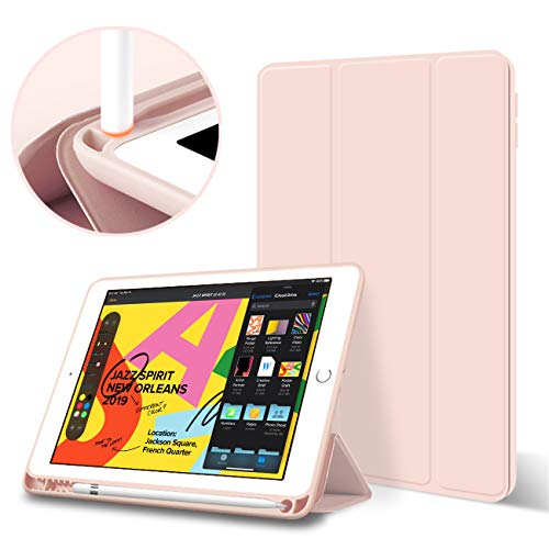 KenKe iPad 2018/2017 Case with Pencil Holder Smart iPad Case Trifold Stand with Shockproof Soft TPU Back Cover and Auto Sleep/Wake Function for iPad 9.7 inch iPad 5th/6th Generation case-(Pink)