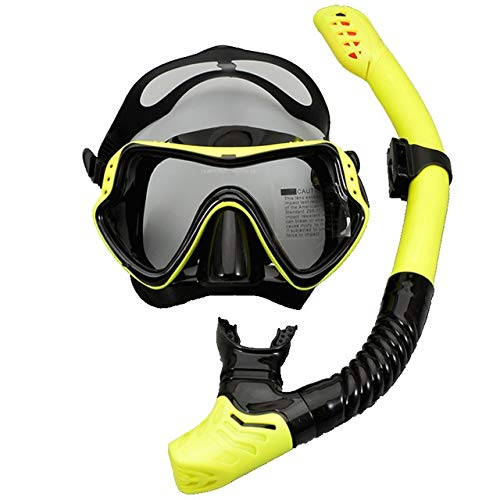 HUIJUNWENTI Buceo con máscara de Buceo y Profesional Tubos Anti-Niebla Gafas Gafas de Buceo Piscina Easy Set Tubo (Color : Yellow)