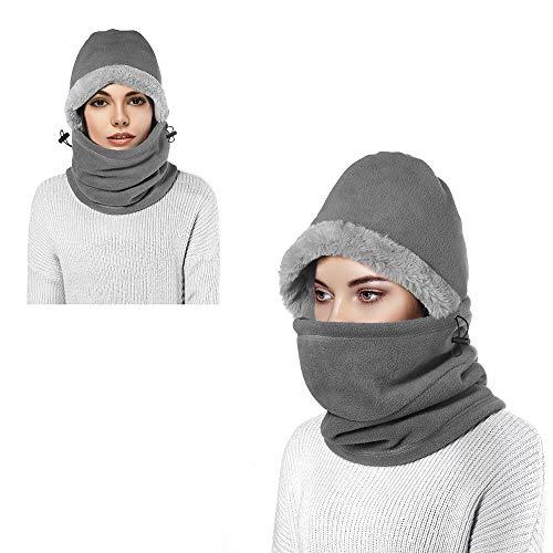 Pasamontañas de lana, pasamontañas unisex, a prueba de viento, deportes de invierno al aire libre, máscara facial, capucha, máscaras, calentador de cuello para hombres y mujeres, esquí (Gris claro2)