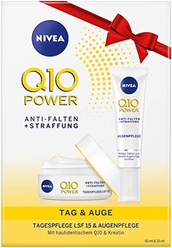 NIVEA Q10 Tages- und Augenpflege Geschenkset, mit Q10 Power Anti-Falten + Straffung Augenpflege und Q10 Power Anti-Falten + Straffung Tagespflege, Wellness Geschenk