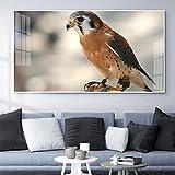 Art moderne Peinture animale Hibou grand-duc recherchant art toile peinture bureau salon couloir décoration murale 50X100cm No Frame