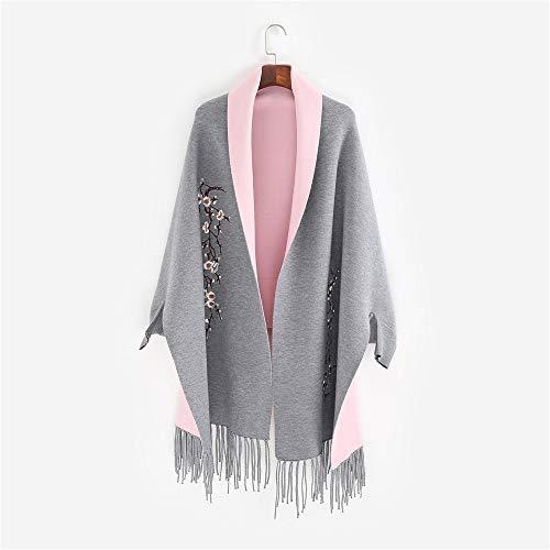 Regalos para Mujeres Bufanda de las señoras otoño e invierno chal Cardigan con flecos bordado de plum de plum del cinturón de las mujeres chaqueta de manto de manga larga Bufanda Exquisitamente Diseña