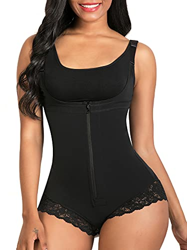 SHAPERX Women Shapewear Tummy Control Fajas Colombianas Body Shaper Zipper Open Bust Bodysuit, SZ7200-Black-L