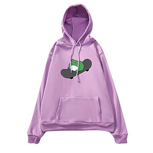 Wallity Women's Skateboarding Frog Sweatshirts Cute Long Sleeve Hoodie Pullover Tops(002-Purple,L)