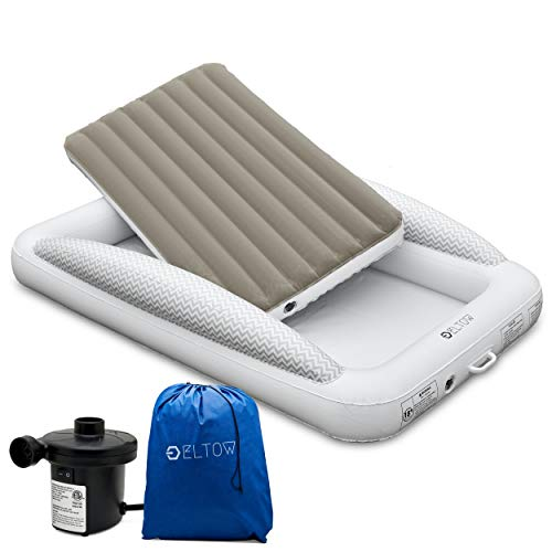 Eltow Inflatable Toddler Air Mattress Bed With Safety Bumper...