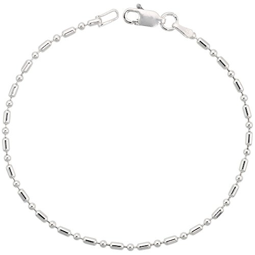 Sterling Silver Dot Dash Pallini Bead Ball Chain Bracelet 1.8mm Nickel Free Italy, 8 inch
