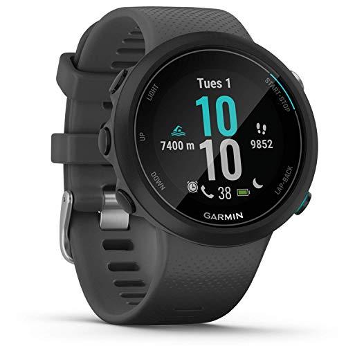 Garmin Swim 2 GPS-Schwimmuhr mit Herzfrequenzmessung unter Wasser und speziellen Schwimmfunktionen, Schwimmbad-/Freiwasser-Modus, GLONASS, GALILEO, Sport-Apps, 7 Tage Akkulaufzeit, Grau