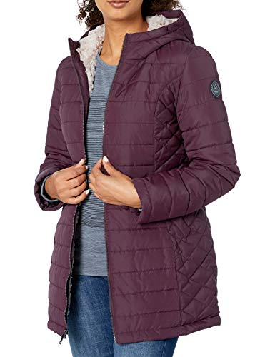 HFX Women's 3/4 Length Fully Sherpa Lined Jacket, Bordeaux, Small