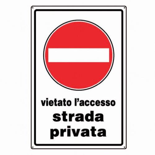 ARIETE GROUP - Cartello in alluminio bianco cm 30X20 Vietato l'accesso strada privata