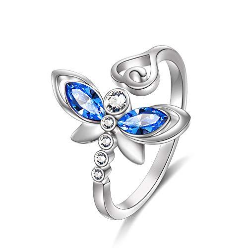 Anillo de libélula de plata de ley ajustable con cristales de Swarovski, joyería de libélula, regalo para mujer