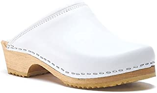 World of Clogs.com Toffeln Classic klog 020 Traditional Padded Antistatic Wooden Clogs - White