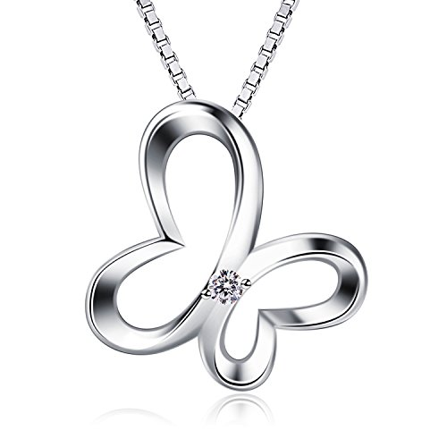 B.Catcher Necklace Elegant Butterfly 925 Sterling Silver Pendant Necklaces Women Cubic Zircoina Necklace