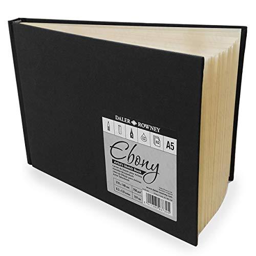 Daler Rowney - Ebony Artist's Hardback Sketch Book - 150gsm - 62 Pages - A5 Landscape