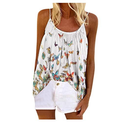Longra T-Shirt A Maniche Corte in Pizzo Stampa Farfalla Vestito Irregolare Camicia Lunga Estate Camicetta da Donna Taglie Forti Maglietta Casual Blusa Tops Camicia S-2Xl (4XL, Bianco)