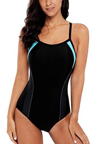 beautyin Ladies Sports Crossback Swimwear One Piece Pro Swimsuit Bathing Suit XL Aqua/Black