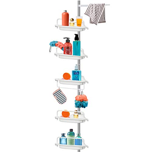 Vailge Constant Tension Corner Shower Caddy, Stainless Steel Pole, 5-Shelf, Rustproof, Strong and Sturdy, White