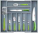 Expendable Bamboo Kitchen Drawer Organizer - Flatware and Silverware Organizer - Gray Cutlery Tray for Stylish Kitchen (9 Slots, Gray)