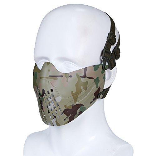 H World EU Airsoft Taktische Outdoor Paintball Jagd Schutz Halbe Gesichtsmaske fit Fast Helm (Multicam)