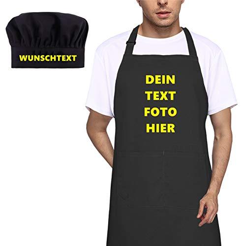 LAOKEAI Personalisierte Schürze und Kochmütze Set mit Ihrem Wunschtext oder Bild, Verstellbare Kochschürze zum Bemalen Schürze Küchenschürze Bastelschürzen(Schwarz)