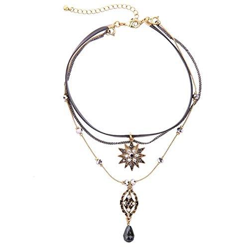 MDHANBK Collar de Mujer Collar Multicapa Cadena de Estrella Colgante de Cuero Collar de Capas Fiesta