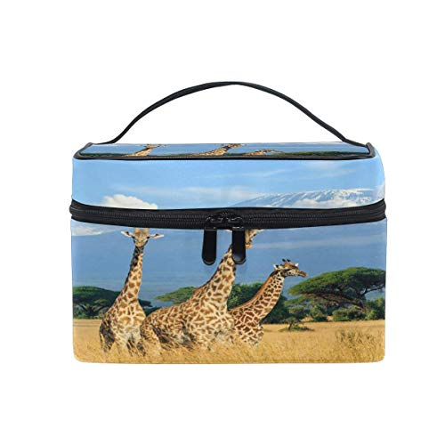 Bolsa de maquillaje, tres jirafas África portátil de viaje con impresión grande bolsa de cosméticos organizador compartimentos para niñas mujeres señora