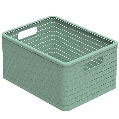 Rotho Country Aufbewahrungskiste 18l in Rattan-Optik, Kunststoff (PP recycelt) BPA-frei, grün, A4/18l (36,8 x 27,8 x 19,1 cm)