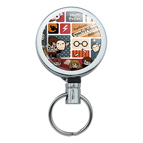 Harry Potter Cute Chibi Pattern Heavy Duty Metal Retractable Reel ID Badge Key Card Tag Holder with Belt Clip