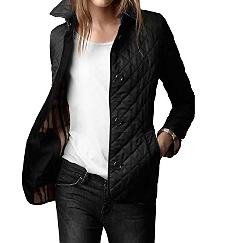E.JAN1ST Women's Diamond Quilted Jacket Stand Collar Button End with Pocket Coat, Black, TagsizeXXXL=USsize8