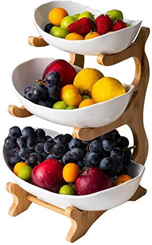 Cesta de Frutas de 3 Niveles, Soporte de bambú, 6 * 6 * 13 Pulgadas, estantes de Almacenamiento de Frutas de encimera de cerámica para reuniones Familiares, Platos, Verduras, Dulces Well
