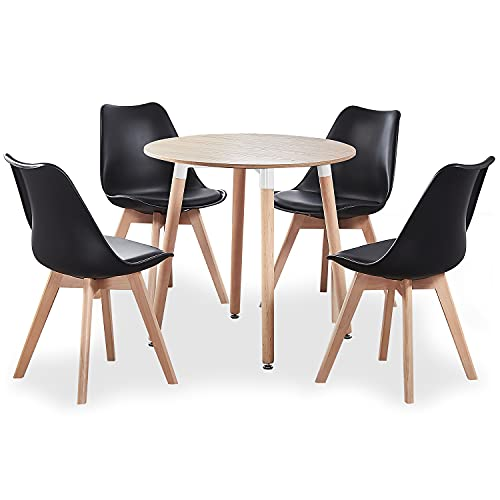 Life Interiors: Lorenzo Chair & Halo Round Table Dining Set | SET OF 4 CHAIRS | Round Modern Table | Padded Seat | Modern Furniture | (Oak & Black)