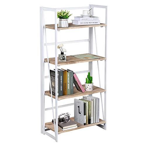 FurnitureR Sin Ensamblaje Estantes Plegables con 4 Repisas Estilo Moderno y del Norte de Europa Elegante Librero Estantes de...