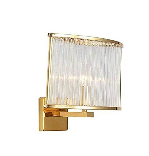 DKEE Lámpara Cristalina Moderna Pared De La Cabecera De Pared De Luz Oro Hierro Forjado Cuerpo De La Lámpara De Cristal Transparente De Rod, Cobre, A Luces de Pared